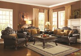 Traditional Leather Sofas Traditional Dark Brown Faux Leather Sofa And Loveseat Set