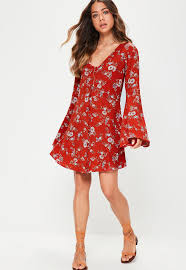 red floral flared sleeve dress missguided