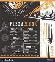 pizzeria menu graphic design idea pizza stock vector 378323695