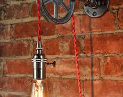 industrial pulley pendant light pulley light etsy