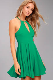 glamorous clothing chic halter dress green dress dress