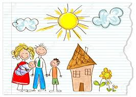 12826217 children drawing happy family on a peace of paper stock