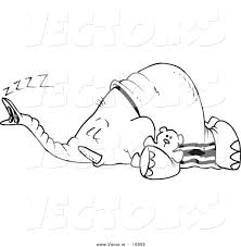 vector of a cartoon sleeping elephant outlined coloring page