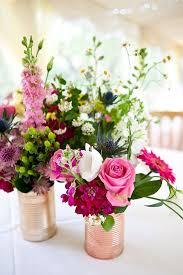 inexpensive centerpiece ideas pink flowers in tin cans wedding centerpiece ideas deer