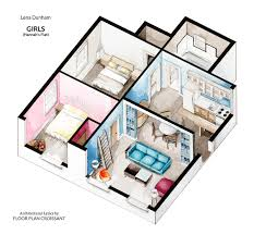 watercolor isometric floor plan of hannah horvath u0027s apartment in