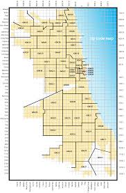 City Of Chicago Map by Map Showing Zip Code Areas And Major Streets Of The Chicago Street