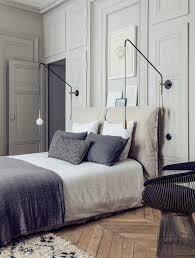 Bedroom Wall Light Fittings Neutral Linens Weathered Wood Floor Panelled Walls Modern Wall