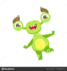 funny monster dancing and smiling green alien emoji cartoon