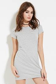 forever 21 striped t shirt dress in gray lyst