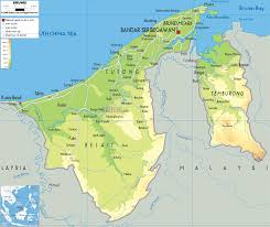 South Asia Physical Map by Brunei Map