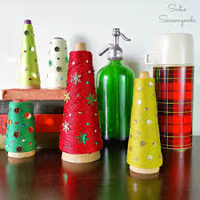 vintage industrial serger thread cone christmas trees