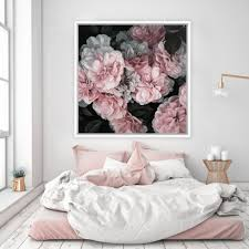 White Bedroom Gold Accents Pink Blooms Canvas Square Art Pieces And Feminine