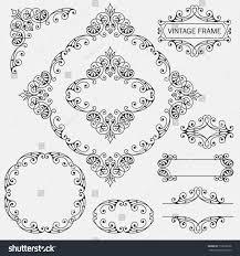 Design Invitations Flourish Border Corner Frame Collection Decorative Stock Vector