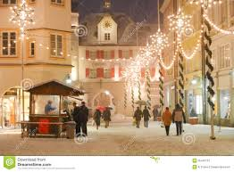 Medieval Decorations Christmas Illuminations In A Medieval Town Square Editorial Image