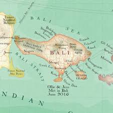 bali indonesia map personalised bali treasured map location print by bombus