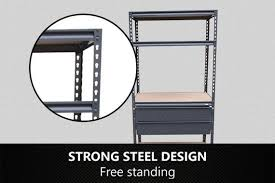 Free Standing Shed Shelves by New Metal Shelves Garage Garden Shed Steel Silv Outbaxcamping