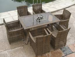 Rattan Patio Dining Set Outdoor 8 Person Outdoor Dining Table Modern Outdoor Furniture