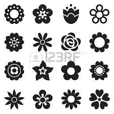 fiori disegni set di icone di fiori piane in silhouette isolato su bianco