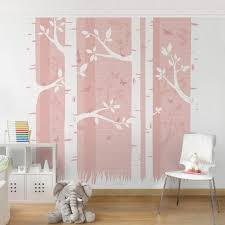 tapete für kinderzimmer kinderzimmer tapete rosa birkenwald mit schmetterlingen und