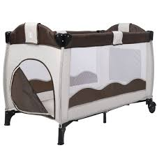 Foldable Baby Crib by Costway Coffee Baby Crib Playpen Playard Pack Travel Infant