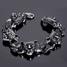 metal beads bracelet images Man animal jewelry top quality silver color leopard bracelet real jpg