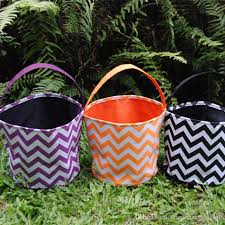 wholesale blanks chevron multi color round halloween tote buckets