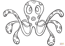cartoon octopus coloring page free printable coloring pages
