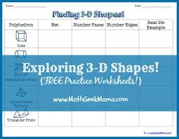 3d shapes and nets worksheets math geek mama