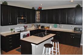 modern kitchen cabinet design idea with cream counter white stove