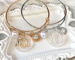 monogrammed bangle bracelet monogrammed bangle etsy