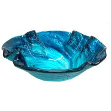 blue glass vessel sink eden bath caribbean wave glass vessel sink in blue with pop up drain