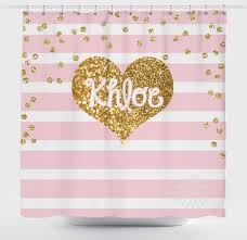 gold and pink shower curtain light pink stripe and gold glitter