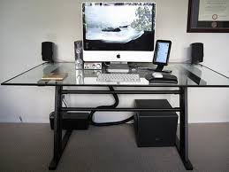 Modern Glass Desk With Drawers Modern Computer Desk With Glass Top And Black Legs On Grey Carpet