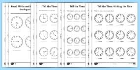 telling the time exact minutes past task setter powerpoint and