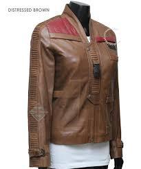 brown motorcycle jacket poe dameron finn women leather jacket