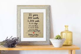 25th anniversary gifts for parents personalized 25th anniversary gift for parents anniversary