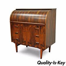 Antique Roll Top Secretary Desk by Vintage Mid Century Danish Modern Rosewood Teak Cylinder Roll Top