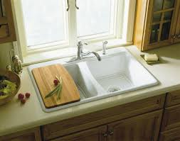 Kitchen Sink Cutting Board by Engaging Rectangle Shape Overmount Kitchen Sink With Stainless