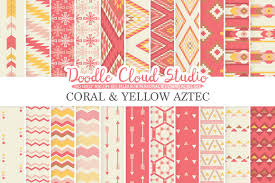 coral and yellow aztec digital paper tribal patterns native