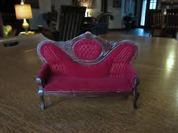 haunted red velvet couch baroque vintage dollhouse doll house