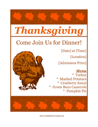 menu templates free download thanksgiving preview of printable