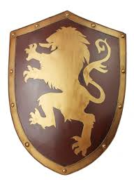 pure manual made medieval knight shield lannister lion iron