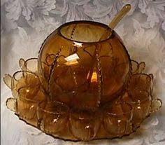 indiana carnival glass marigold princess punch bowl set w 12 cups