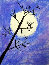 moon and tree silhouette art projects for kids