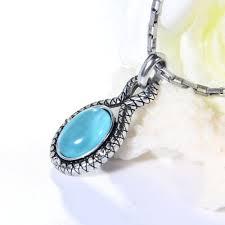 blue opal necklace erluer european vintage retro antique silver plated charm necklace