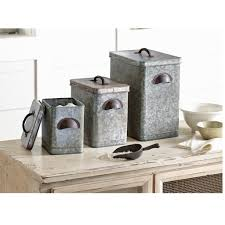 tin kitchen canisters mud pie retreat collection galvanized tin kitchen canisters set of 3