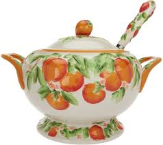 Pumpkin Soup Tureen And Bowls by Temp Tations Figural Fruit Soup Tureen With Ladle Page 1 U2014 Qvc Com