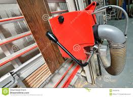 Cutting Laminate Flooring With Circular Saw Industrial Circular Saw For Cutting The Parquet Royalty Free Stock