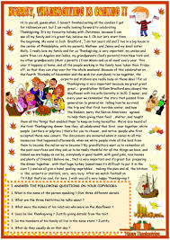 thanksgiving reading comprehension worksheet free esl