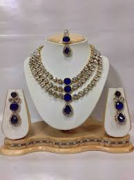 Buy Dazzling Kundan Set In Famous Crystal Jewelry Set In Royal Blue